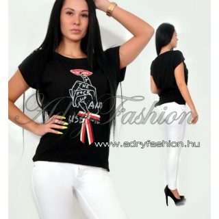 Fekete strasszos női póló KISS ME