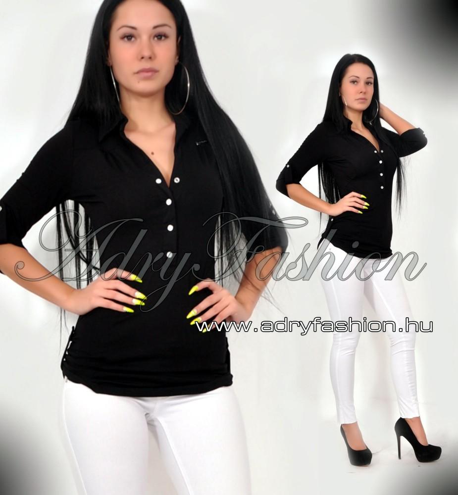 bbb8776b7a RENSIX fekete színű - patentos ing S-es méret - AdryFashion női ruha ...