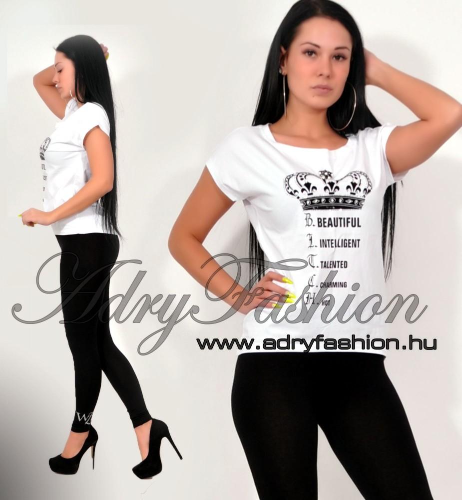9654abfc46 Csini fehér CROWN női póló M/L - AdryFashion női ruha webáruház ...