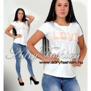 Csini fehér LOVE feliratos női póló S/M