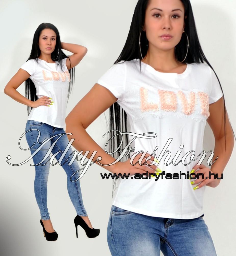 5a07c8da02 Csini fehér LOVE feliratos női póló S/M - AdryFashion női ruha ...