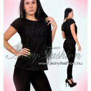 Csini fekete LOVE feliratos női póló L/XL