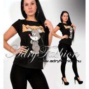 Csini fekete egeres VOGUE női póló L/XL