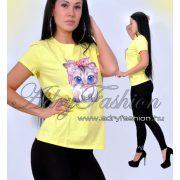 Csini sárga cicás női póló S/M