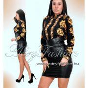 Szatén női ing  fekete mintás