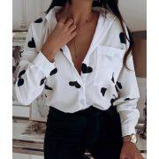 Szatén lenge női ing fekete szivecske  mintás - fehér színű