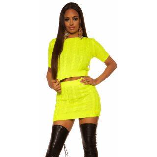 Neon sárga színű két részes vékony kötött felső és szoknya szett