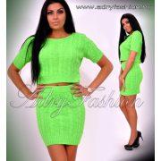 Neon zöld színű két részes kötött felső és szoknya szett