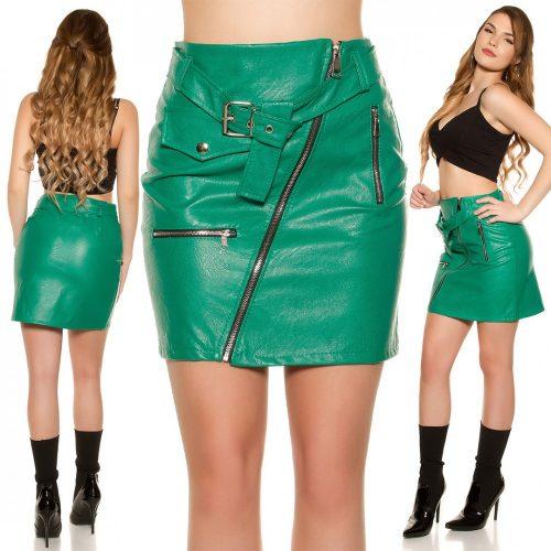 Zöld  műbőr szoknya cipzár díszes
