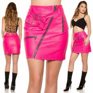 Pink színű műbőr szoknya cipzár díszes S/36