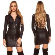 Fekete  műbőr ruha S