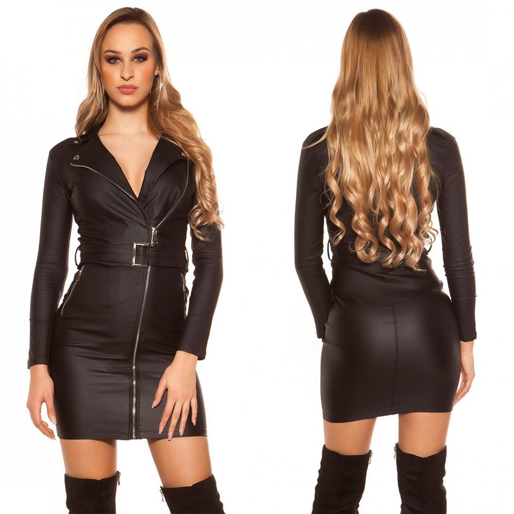 6f0ac01b4c Fekete műbőr ruha S - AdryFashion női ruha webáruház, Ruha webshop ...