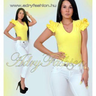 Rensix sárga fodros ujjú poliamid női felső