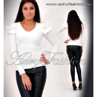 Rensix fehér színű vállánál fodros  poliamid női felső