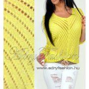 Neon sárga  ezüst szálas vékony kötött tavaszi női pulcsi