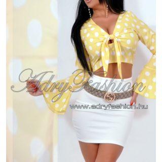 Sárga színű fehér pöttyös mellén megkötős croptop