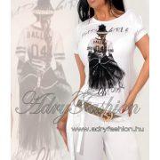 Csini fehér színű  BAd GIRLS női póló alulmegkötővel S/M