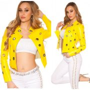 Sárga  műbőr szegecses díszes női átmeneti dzseki