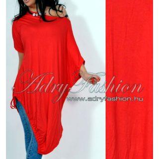 Piros pamut vállra húzható alul megkötős lenge ruha