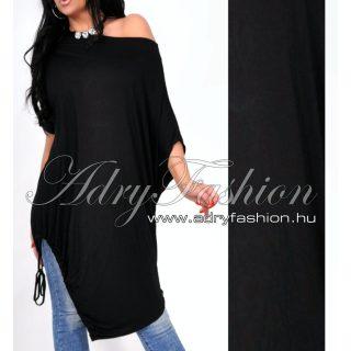 Fekete pamut vállra húzható alul megkötős lenge ruha