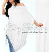 Hófehér pamut vállra húzható alul megkötős lenge ruha
