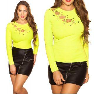 Neon sárga színű bordázott fűzős női felső