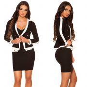 Buklé hatású fekete fehér csini kosztüm