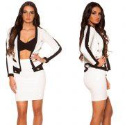 Buklé hatású fehér fekete csini kosztüm