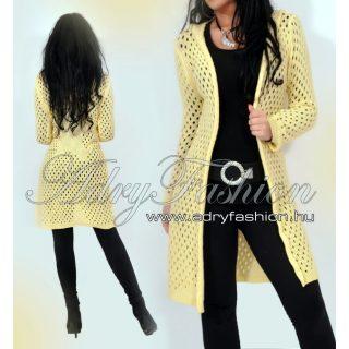 Halvány sárga kötött lyukacsos kapucnis női kardigán