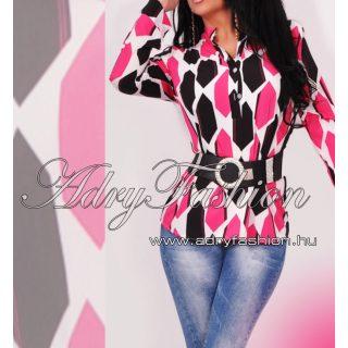 Pink fekete fehér női ing