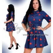 Piros - kék szivecskés ing ruha