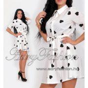 Fehér fekete  szivecskés ing ruha