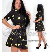 Fekete - kiwi  szivecskés ing ruha