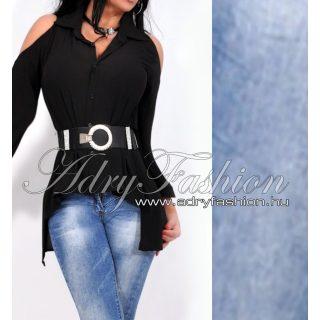 Fekete vállán nyitott muszlin ing