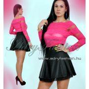 Pink színű  csíkos csipke elegáns női felső