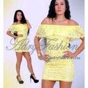 Halvány sárga fodros vállra húzható elegáns női ruha