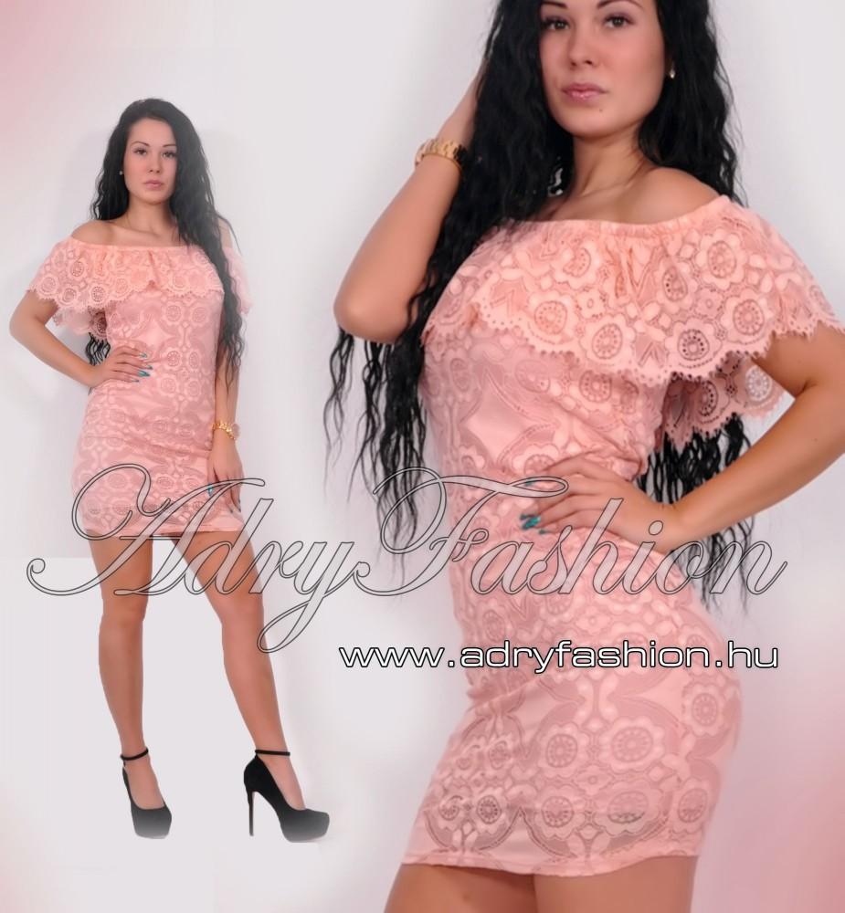 6257791858 Púder fodros vállra húzható elegáns alkalmi női ruha - AdryFashion ...