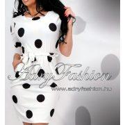 Fehér fekete pöttyös lenge zsebes női ruha
