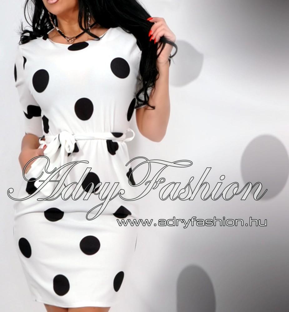 Fehér fekete pöttyös lenge zsebes női ruha - AdryFashion női ruha ... 10c2593ef0