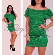 Zöld fodros vállra húzható elegáns női ruha