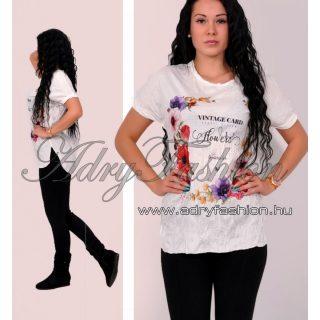 Tavaszi mintás virágos Csini  gyűrt póló