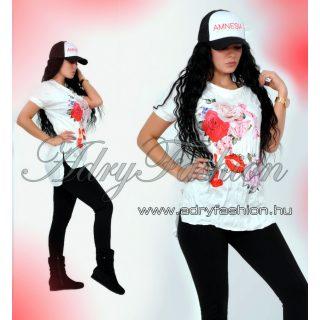 Tavaszi  virág mintás gyűrt Csini  gyűrt póló