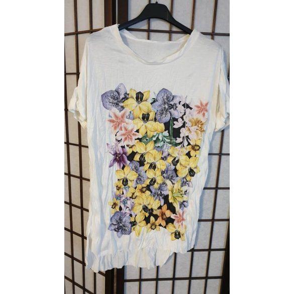 Csini gyűrt tavaszi virágos  póló