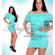 Türkiz fodros vállra húzható elegáns női ruha