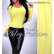 Citrom sárga kerek kivágott vékony kötött bordás női felső