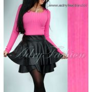 Pink színű kerek nyakú vékony  bordás kötött felső