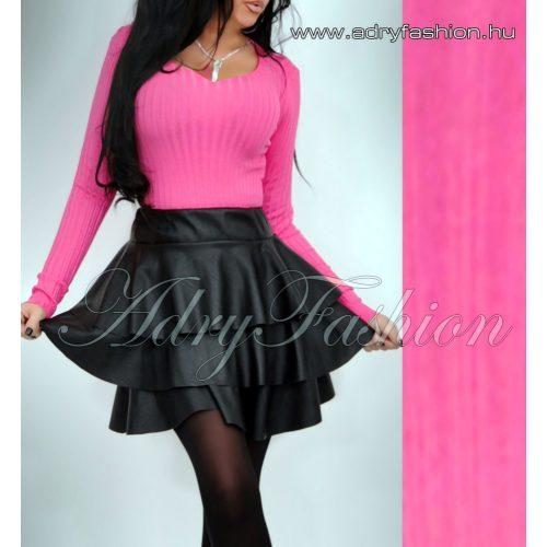 Pink színű V kivágott bordás vékony kötött felső