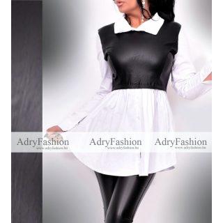 Fehér fekete ing csinos bőrhatású felső részel
