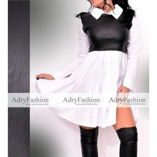 Fekete fehér csinos Bővebb fazonú fehér női ingruha bőrhatású díszítéssel