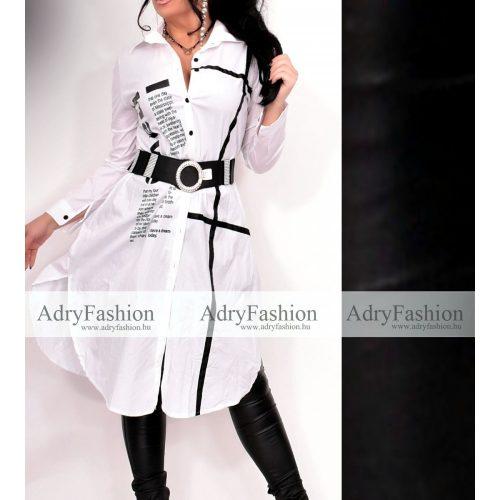 Fehér  színű gombos ing ruha pánt díszes - öv nélkül